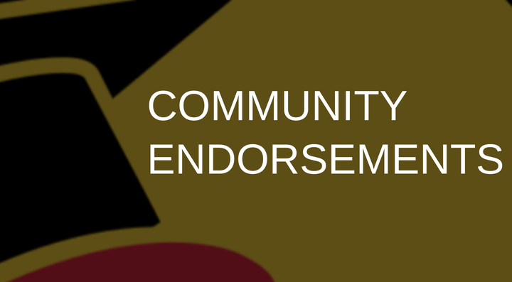 "Words ""community endorsements"" laid over a faded portion of the OUW black, gold and red ""graduate goose"" logo."